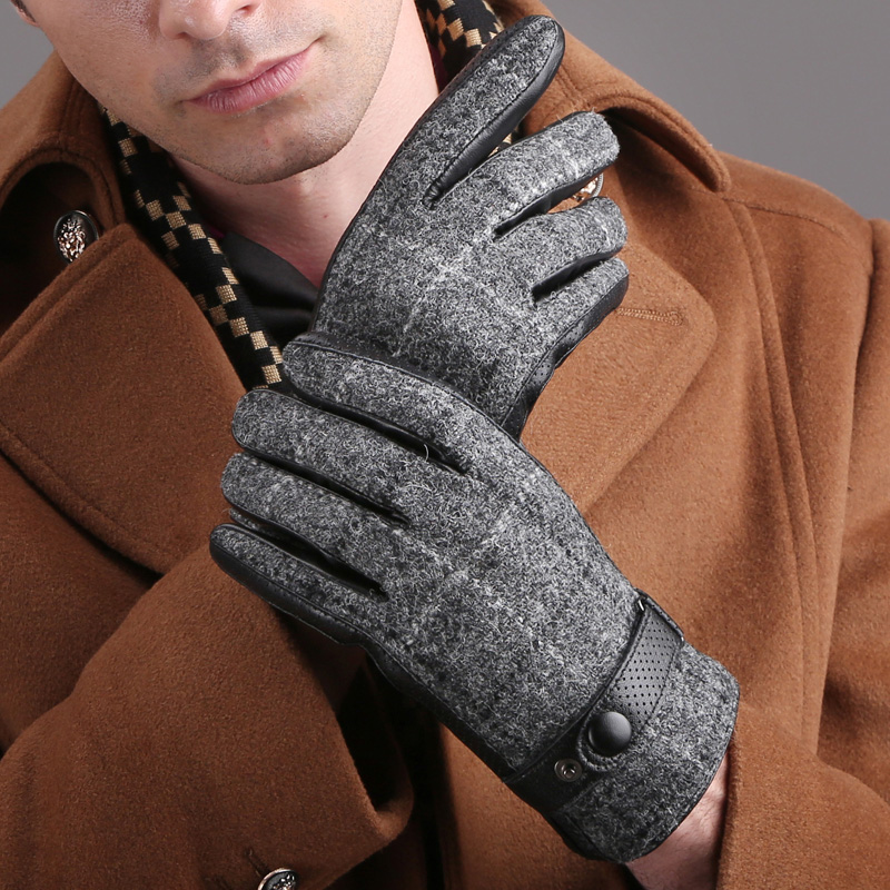 Genuine Leather Men Gloves Business Sheepskin Autumn Winter Plush Lined Hand Back Wool Cloth Driving Leather Gloves TB05