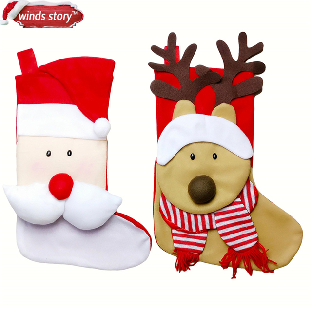 1pcs Large Cute Christmas Stocking Decoration Santa Claus Deer Gift Candy Bag Indoor Xmas Decor