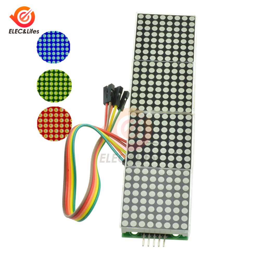 4 In 1 MAX7219 Dot Matrix Module For Arduino Microcontroller 4 In One LED Display Module With 5P Line 4 In 1 Red/Green/Blue
