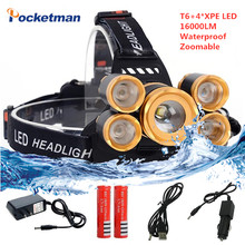16000LM T6+4*XPE LED Headlamp Waterproof Head light Rechargeable 4 modes Zoomable Headlight use 18650 battery for fishing z90(China)