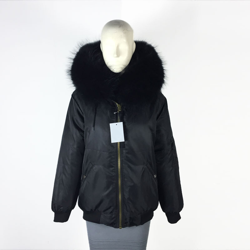 Winter Bombers fur inside Winter unisex Black bomber jacket white raccoon collar Jacket