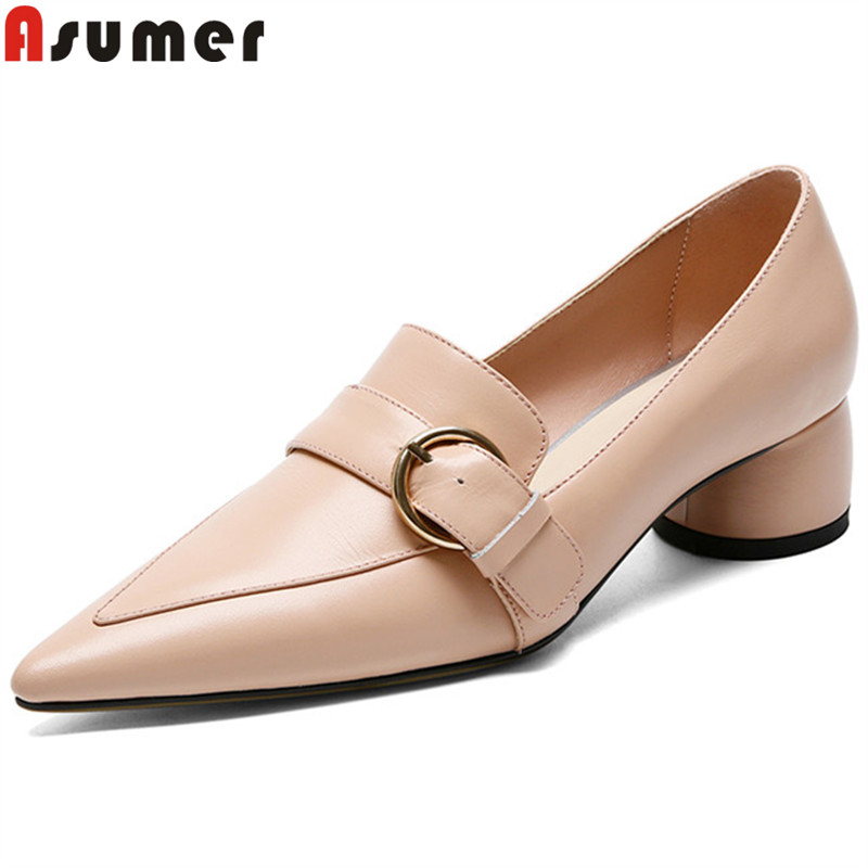 ASUMER 2019 fahsion pumps women shoes pointed toe genuine leather shoes thick high heels shoes elegant ladies prom wedding shoesASUMER 2019 fahsion pumps women shoes pointed toe genuine leather shoes thick high heels shoes elegant ladies prom wedding shoes