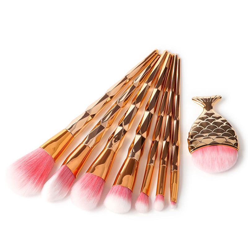2018 New 8pcs Rose Gold Makeup Brushes Set Diamond Plastic Handle Makeup Brushes Pro Make up kwasten Brush kit Beauty Tool genuine guarantee hongkong new cher gold partner 123 suit rose essence page 8