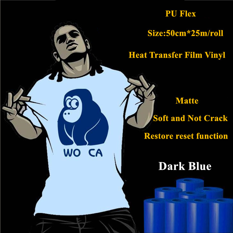 PU Flex heat transfer vinyl for clothing Matte Dark Blue thermel press film for t shirt heat transfer film vinyl 50cm*25m/roll free shipping 5rolls 50cmx100cm heat transfer vinyl film pet metal light mirror finish for textile print