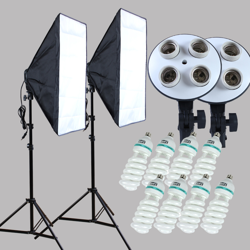 Yuguang Photographic 100 240v Four Socket Lamp Holder With Continuous Lighting 50 70cm Softbox 2 pcs