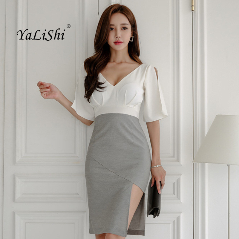 Plus Size Summer Asymmetrical Dress Women White Gray Patchwork Short Sleeve V-neck Midi Dress Office Lady Elegant Party Dresses