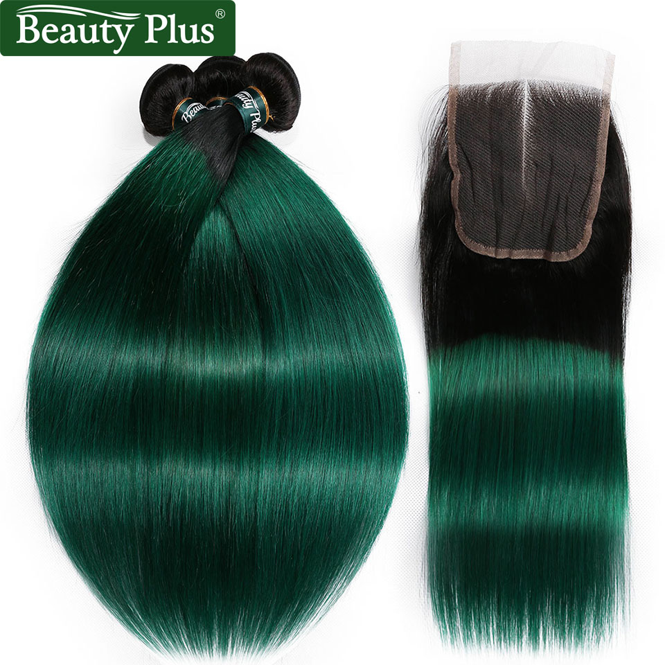 Green Ombre Hair Bundles With Closure Beauty Plus Non Remy Pre Colored Turquoise Teal Straight Human