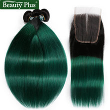 Green Ombre Hair Bundles With Closure Beauty Plus Non Remy Pre Colored Turquoise Teal Straight Human Hair Weave And Lace Closure