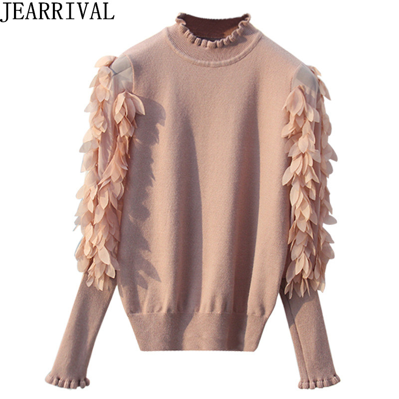 2018 New Fashion Ruffles Pullovers Women New Design See-Through Lantern Sleeve Tops Casual Knitted Sweater Pullovers Pull Femme