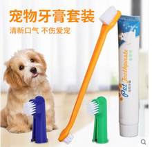Dog toothbrush toothpaste set fresh breath clean oral edible toothpaste cat and dog universal(China)