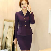 Fashion V neck women pants suits set spring formal long slee