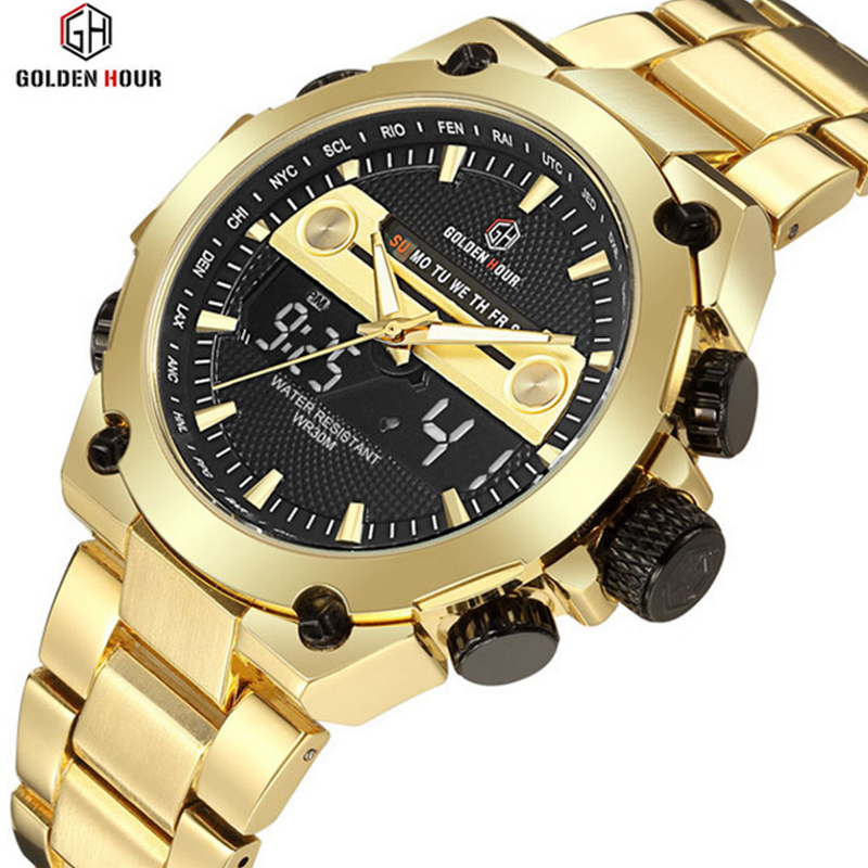 Golden Military Sports Waterproof Wristwatch Relogio Masculino Men's Watches Top Brand Luxury Quartz Digital Watch New Men Clock 2017 new men digital sports military watch electronic dual time zone waterproof army watch relogio masculino relogio militar
