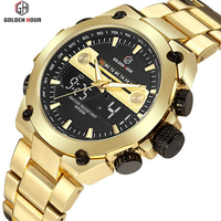 Golden Military Sports Waterproof Wristwatch Relogio Masculino Men's Watches Top Brand Luxury Quartz Digital Watch New Men Clock