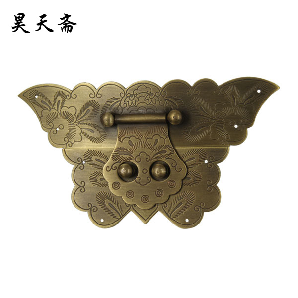 [Haotian vegetarian] antique copper box butterfly face page / box button HTN-047 [haotian vegetarian] antique copper box face page box buckle chinese decoration accessories htn 023