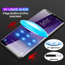 Screen Protector For Samsung Note 8 9 Curved Nano Liquid Full Glue Tempered Glass for Galaxy S7 edge S8 S9 Plus UV Light