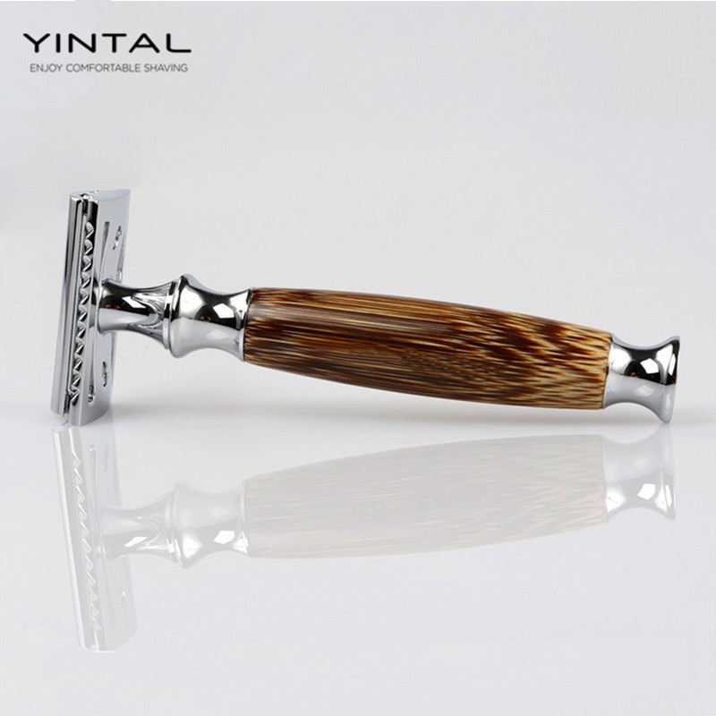 YINTAL New Bamboo Wood Handle Dual Edge Safety Razor Classic Manual Razors Long Handle Men Shaving razors for shaving men double edge razor bright brass blade replaceable chrome manual classic safety razor