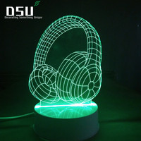3D Night Light Multicolor Headphone Shape Table Desk Lamps 7 Color Changing Lights With Remote Control