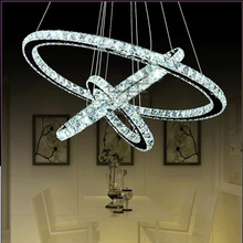 Modern luxury atmosphere living room lights 3 ring diamond crystal chandelier 65W LED K9 luster lamp