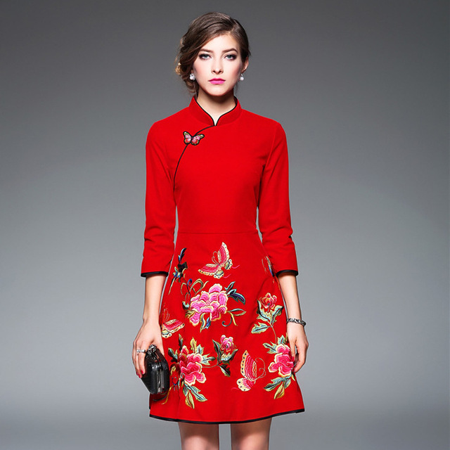25c723b76f3 Red Flower Qipao Women Modern Traditional Chinese New Year Dress Embroidery  Cheongsam Long Sleeve Robe Oriental Style Dresses