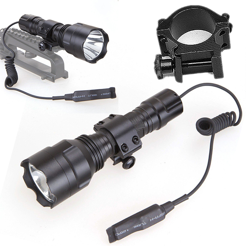 New 600LM T6 LED Tactical Flashlight Torch for Outdoor Hunting Lamp with 20MM Ring Mount Remote Pressure Switch