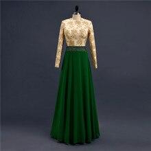 Real Sample Green Beaded Waist Lace Appliques Long Sleeve Hijab Arabic Muslim Evening Dresses Vestidos De Noiva Longo ZED809