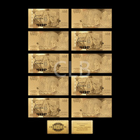 Wholesale Old Thailand Gold Banknote 100 Baht Gold Plated Thailand Baht Note with Certificate Card