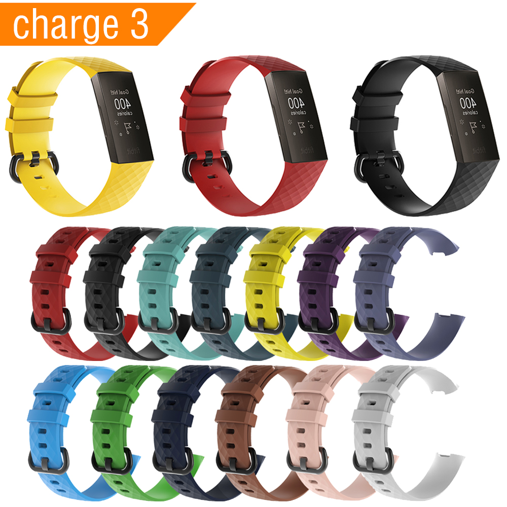Sport Silicone Watch Band For fitbit Charge 3 Smart Accessories for Fitbit Replace Strap