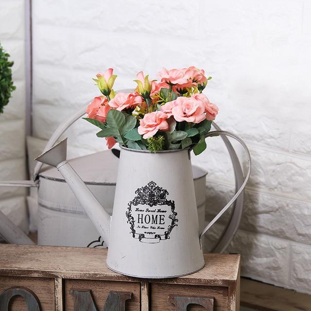 Vintage French Country Iron Flower Vase Fl Arrangement Barrel Story Creative Home Furnishing Decor
