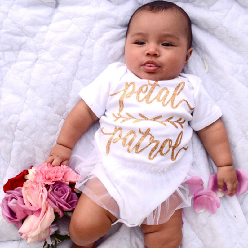 Newborn 2018 Cute Baby Clothes Funny Baby Girls Cotton Bodysuit Short Sleeve Lace Letter Clothes Onesie Baby Toddler Clothing