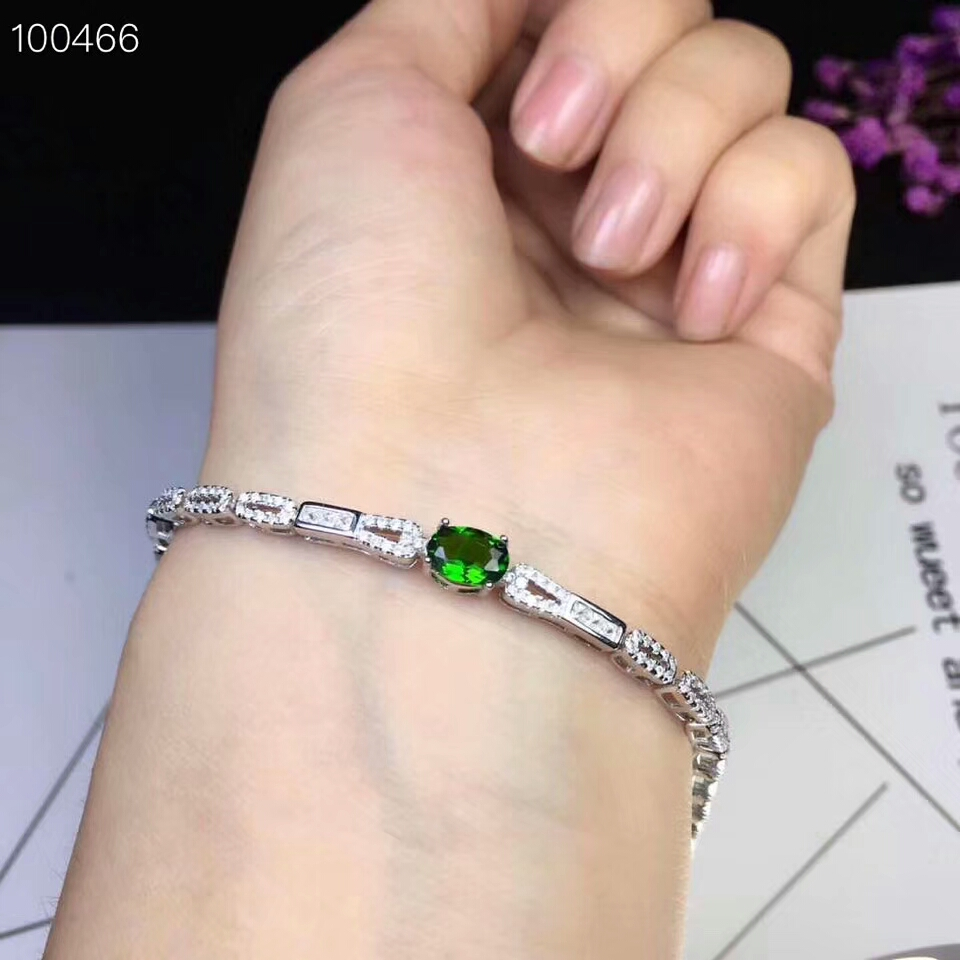 [MeiBaPJ] 925 Sterling Silver Natural Diopside Gemstone Bracelet for Women Fine Accessaries Green Stone Bangle [meibapj] 48cm thai silver bracelet natural pearl red stone bracelet for women chinese characteristics blessing bangle