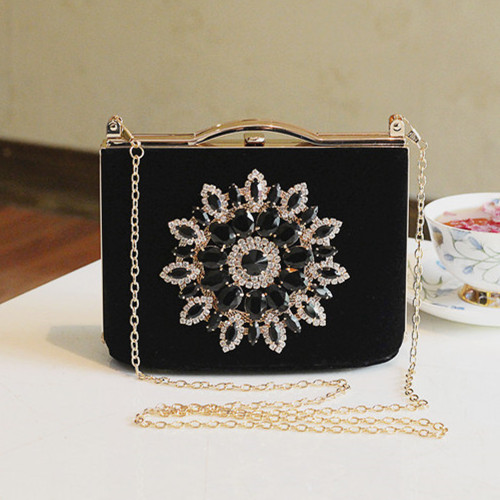Vintage black red evening bridal bag banquet Dazzling diamond clutch married bridesmaid evening bag Generous lady