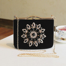 Vintage black/red evening bridal bag banquet Dazzling diamond clutch married bridesmaid evening bag Generous lady Message Bag