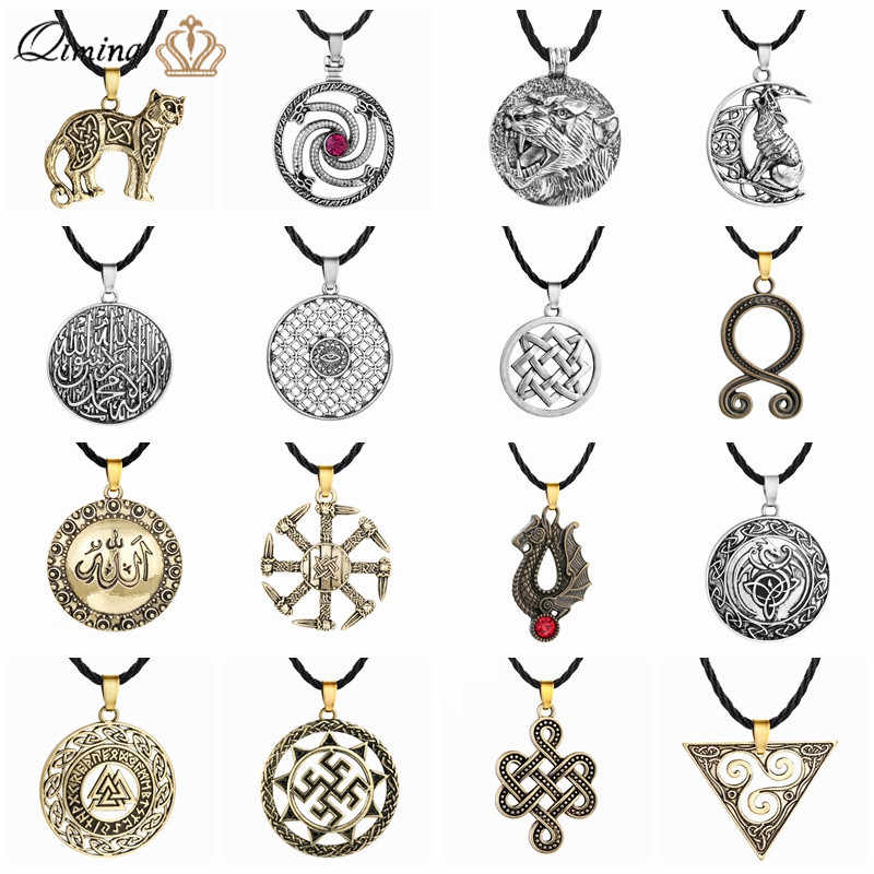 Viking Amulet Women Men Necklace Wolf Dragon Arabic Symbol Slavic Jewelry Evil Eye Retro Punk Pendant Necklace Russian Gift
