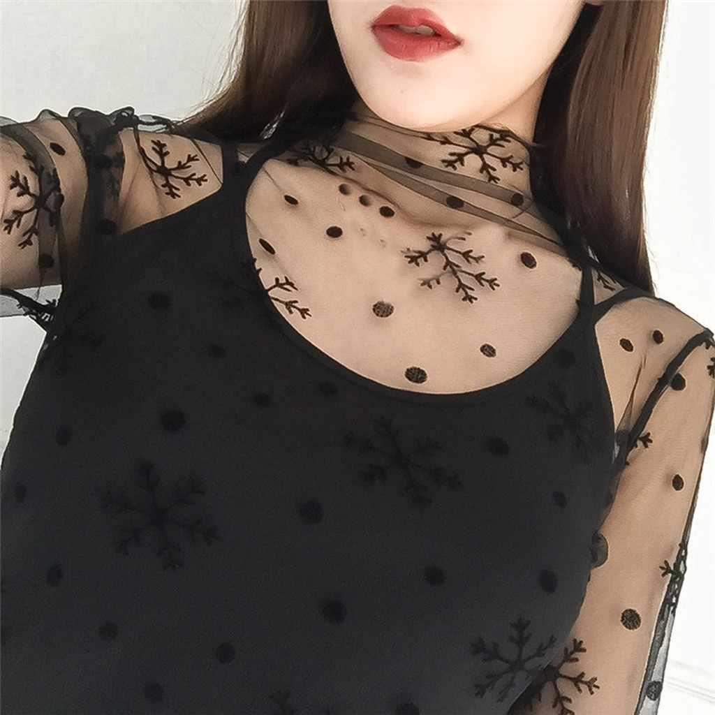 Roupas Streetwear Donne Più di Formato Bluzki Damskie Delle Donne Abbigliamento Donna Shirt Manica Lunga Crop Prospettiva Scava Fuori Camicetta di Pizzo