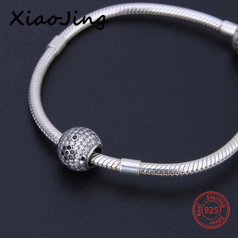 Fit Authentic Pandora charm Bracelets 925 sterling silver original beads with Zirconia diy fashion Jewelry making women Gifts