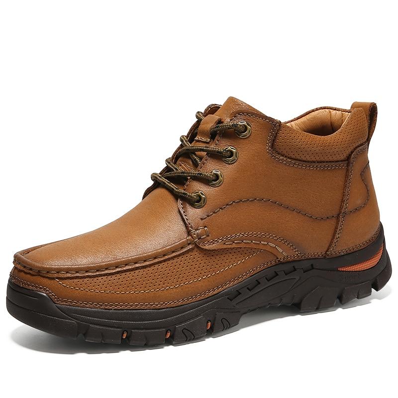 Top black De Cuir Neige Marque 2018 Hiver En Vancat Vache khaki Haute Boots100 Bottes Véritable Chaud Qualité Cheville High Hommes Brown pA7zwq