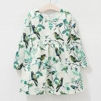 2016 New Spring Autumn Style Girls Costume Fashion Bird Pattern Dresses For Girls European Style Girls