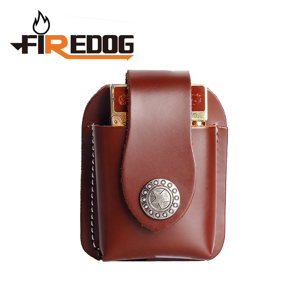 Firedog Cigarette Leather Lighter Holder Brown Lighter Case Box With Belt Loop Pouch Lighter Holder For Zippo Dupont