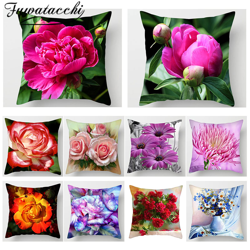 Fuwatacchi 3D Flower Print Cushion Covers Peony Sunflower Rose Pillow Covers For Home Sofa Chair Wedding Decoration Pillowcase
