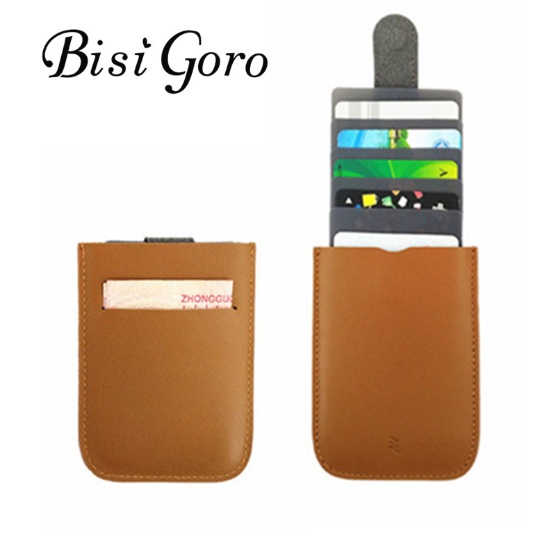 BISI GORO 2018 New Style Men And Women Card Holder Cow Leather Thin Mini Wallet Vintage Casual Business Card Holder For Gift ...