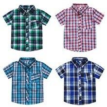 Одежда для маленьких мальчиков; повседневный костюм; одежда для детей; рубашки для мальчиков; новые модные летние классические рубашки в клетку с короткими рукавами