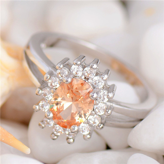H:HYDE Amazing Price Silver Color Rings Shiny Champagne CZ Zircon sweet wedding engagement party ring size 7/8/9