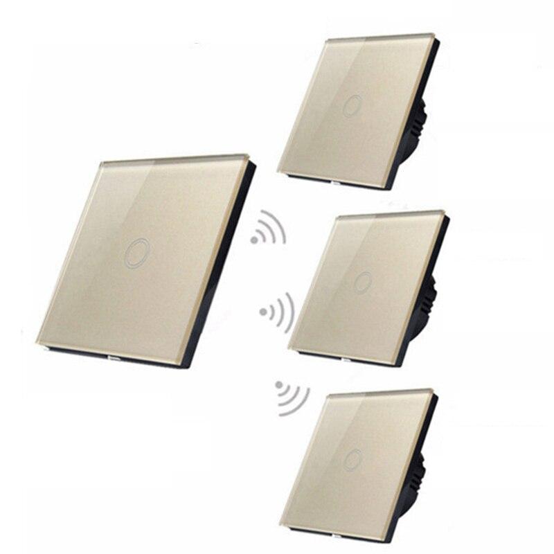 HOT Eu Standard Crystal Glass Switch 1 Gang 1 Way Smart Home Light Wall Press Switch