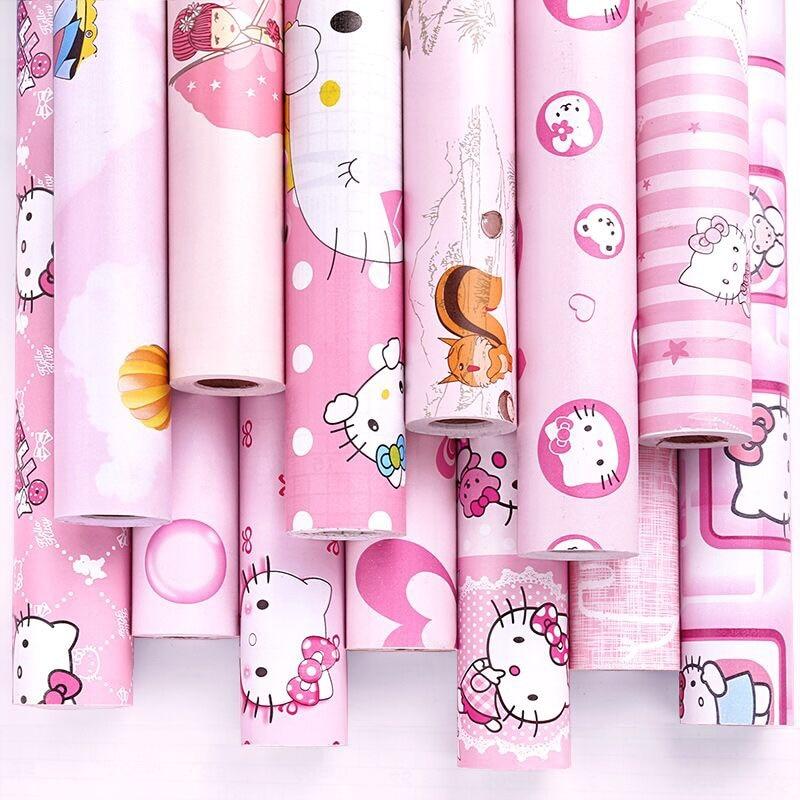 Kamar Anak Warna Pink Kertas Dinding Perekat Diri Wallpaper Kecil Roll Ukuran 0 45 10 M Wallpaper Aliexpress