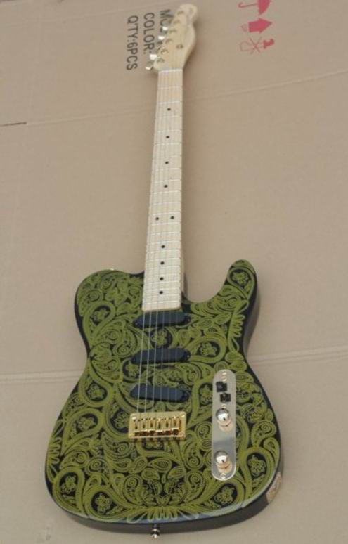New Arrival Fr Tel Model electric guitar gold hardware Water printing flower top selling in green 130516New Arrival Fr Tel Model electric guitar gold hardware Water printing flower top selling in green 130516