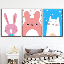 Canvas Art Print Rabbit Cat Totoro Cartoon Animal Nordic Posters And Prints Wall Painting Pictures For Kids Room