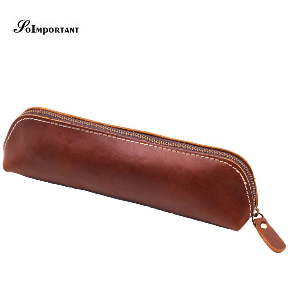 Vintage Luxury Genuine Leather Pens Pencil Pouch Pocket Case Multi Function Pen Bags Men Wallets Coin Purse Handmade Organizer акриловые обои hits wallcoverings vintage luxury sz001534