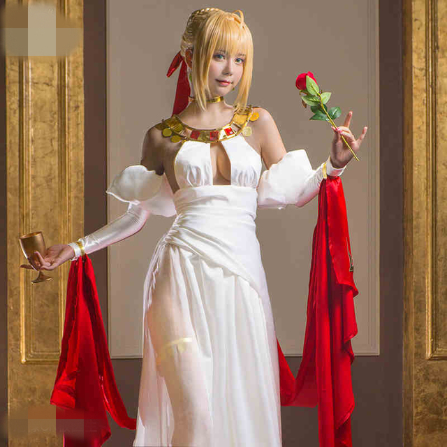 ffba6acf690 Fate Grand Order 2 Anniversary Nero Cosplay Costume Dress Long Beautiful  Dresses Withe Dress For Christmas And Halloween