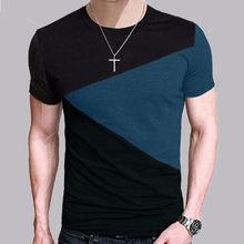 d8f98eb4 Male Fashion Patchwork Triangle T-Shirt Mens T Shirt Slim Fit O Neck  Tshirts Men Short Sleeve Casual Tee Tops Random Color K908