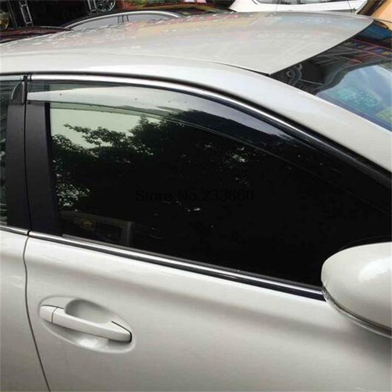 4Pcs Car Window Visor Shades Sun Rain Awnings For Mitsubishi Outlander 2013-2015 2016 2017 PC+Stainless Steel Sticker Accessory 4pcs for toyota corolla 2014 2015 sun rain shield covers car awnings